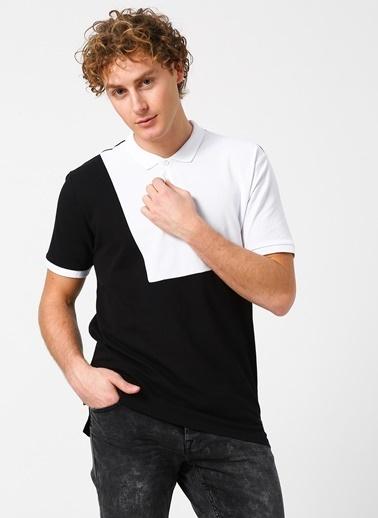 Only & Sons Only & Sons Polo Yaka Renk Bloklu Siyah-Beyaz T-Shirt Siyah